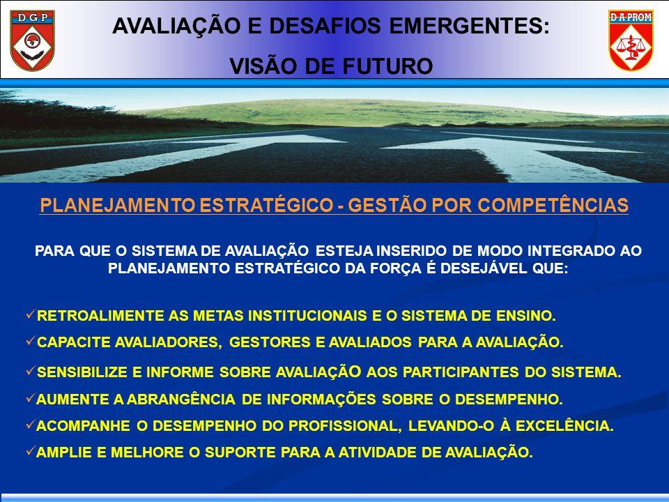 PLANEJAMENTO ESTRATÉGICO - GESTÃO POR COMPETÊNCIAS AVALIAÇÃO E DESAFIOS EMERGENTES: VISÃO DE FUTURO PARA QUE O SISTEMA DE AVALIAÇÃO ESTEJA INSERIDO DE
