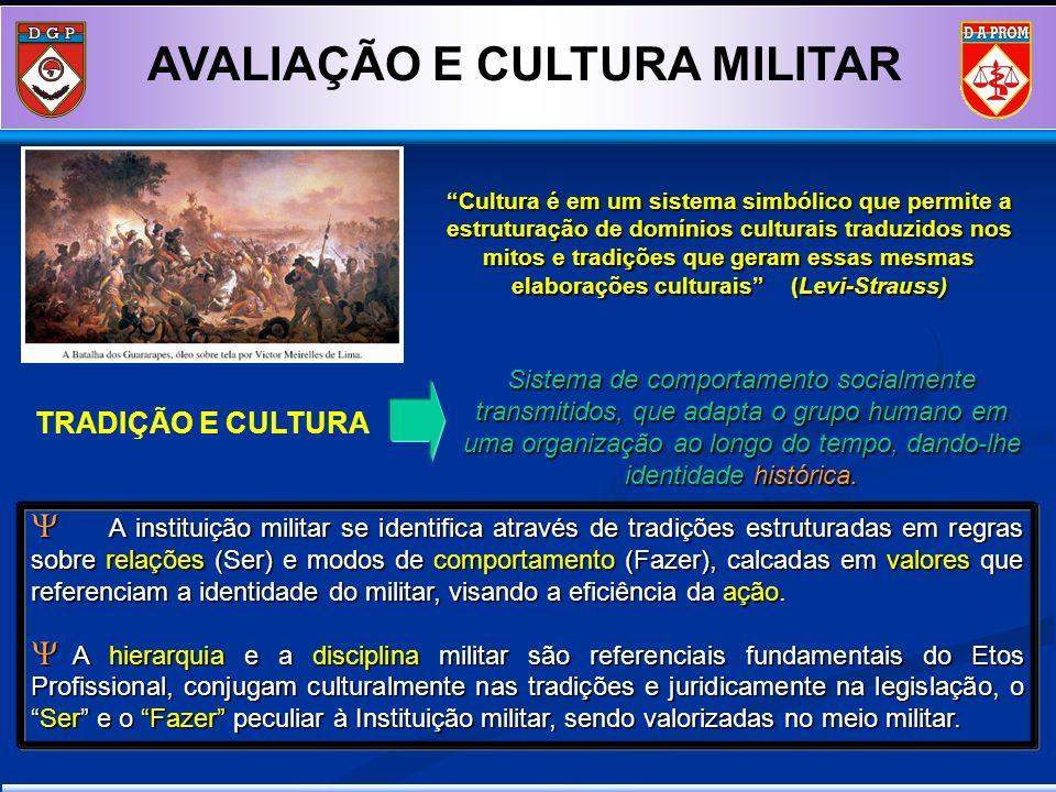 A instituição militar se identifica através de tradições estruturadas em regras sobre relações (Ser) e modos de comportamento (Fazer), calcadas em val