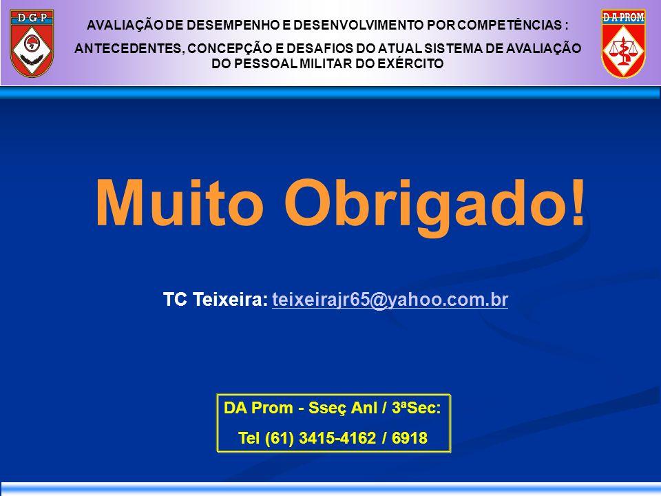TC Teixeira: teixeirajr65@yahoo.com.brteixeirajr65@yahoo.com.br Muito Obrigado! DA Prom - Sseç Anl / 3ªSec: Tel (61) 3415-4162 / 6918 AVALIAÇÃO DE DES