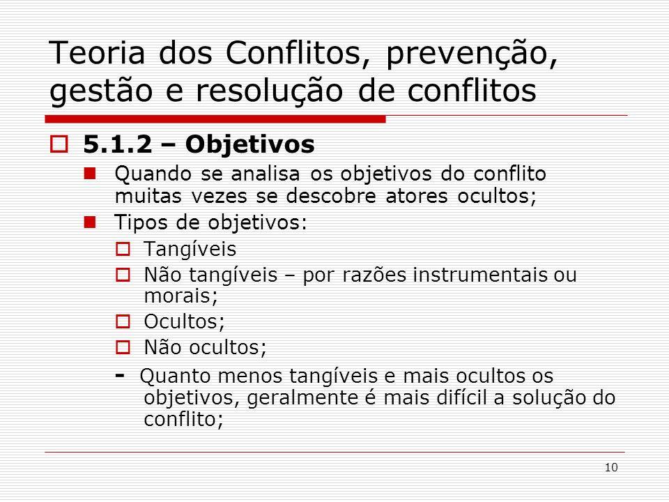 10 Teoria dos Conflitos, prevenção, gestão e resolução de conflitos 5.1.2 – Objetivos Quando se analisa os objetivos do conflito muitas vezes se desco