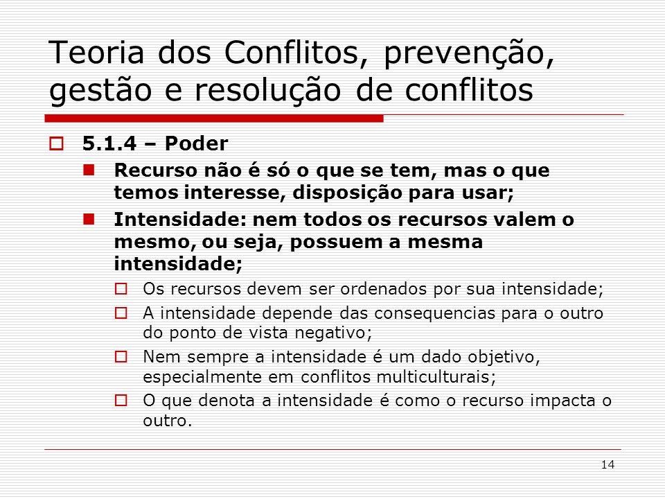 14 Teoria dos Conflitos, prevenção, gestão e resolução de conflitos 5.1.4 – Poder Recurso não é só o que se tem, mas o que temos interesse, disposição
