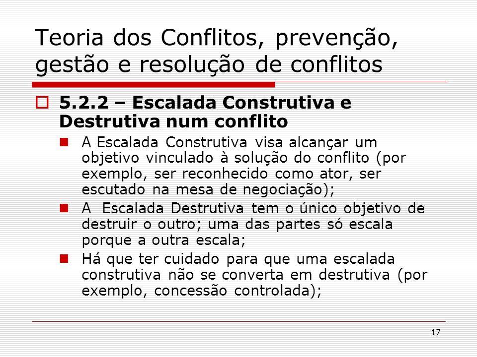17 Teoria dos Conflitos, prevenção, gestão e resolução de conflitos 5.2.2 – Escalada Construtiva e Destrutiva num conflito A Escalada Construtiva visa