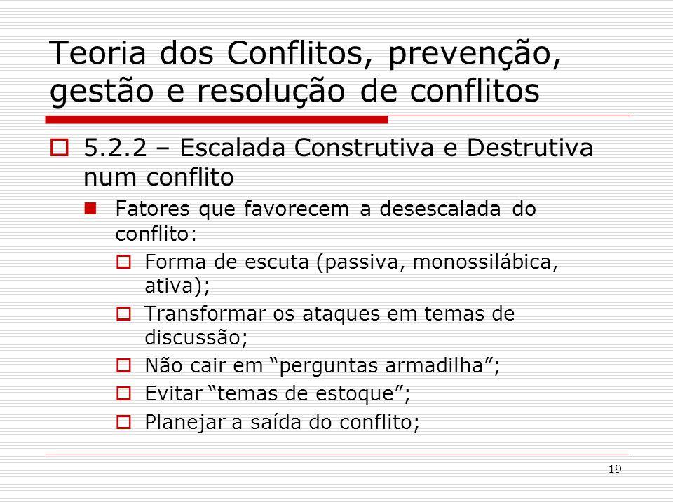 19 Teoria dos Conflitos, prevenção, gestão e resolução de conflitos 5.2.2 – Escalada Construtiva e Destrutiva num conflito Fatores que favorecem a des