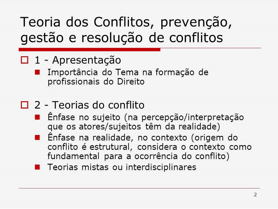 3 Teoria dos Conflitos, prevenção, gestão e resolução de conflitos 3 - Análise do conflito Só há conflito onde há relação; As relações não se dão no vazio, mas em um contexto - Enfoque anidado de análise do conflito (questão, relação, subsistema, sistema); questão relação subsistema