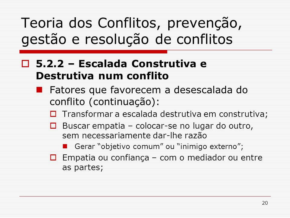 20 Teoria dos Conflitos, prevenção, gestão e resolução de conflitos 5.2.2 – Escalada Construtiva e Destrutiva num conflito Fatores que favorecem a des