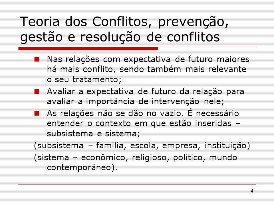 5 Teoria dos Conflitos, prevenção, gestão e resolução de conflitos 4 - Formas de Tratamento dos conflitos Prevenção (estudar a situação para prevenir conflitos futuros); Gestão (dos conflitos imaturos ou dos insolúveis – p.