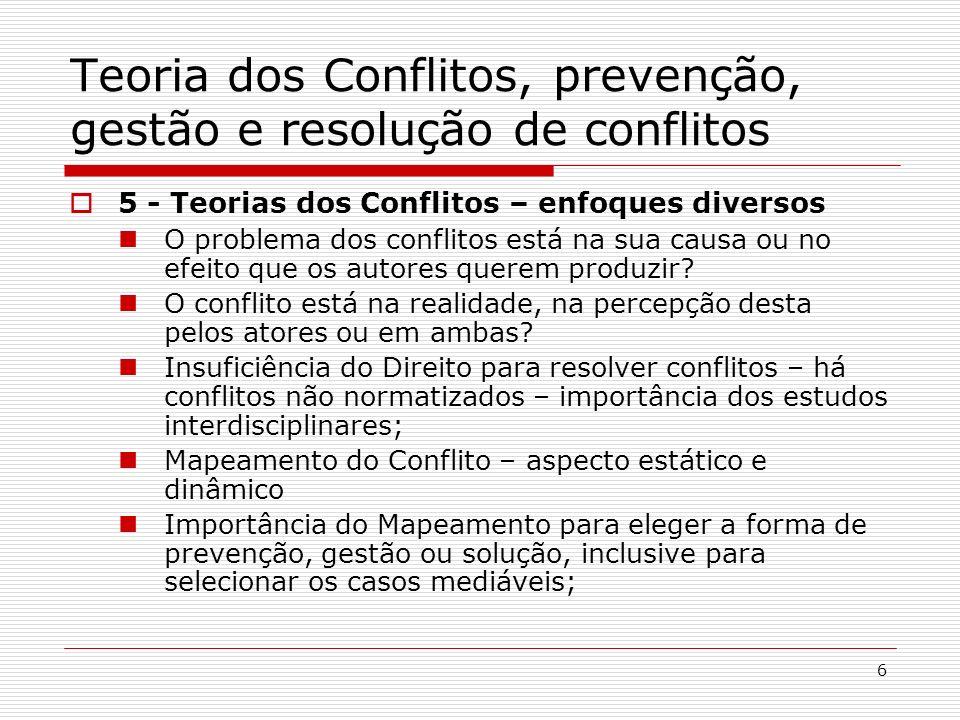 6 Teoria dos Conflitos, prevenção, gestão e resolução de conflitos 5 - Teorias dos Conflitos – enfoques diversos O problema dos conflitos está na sua