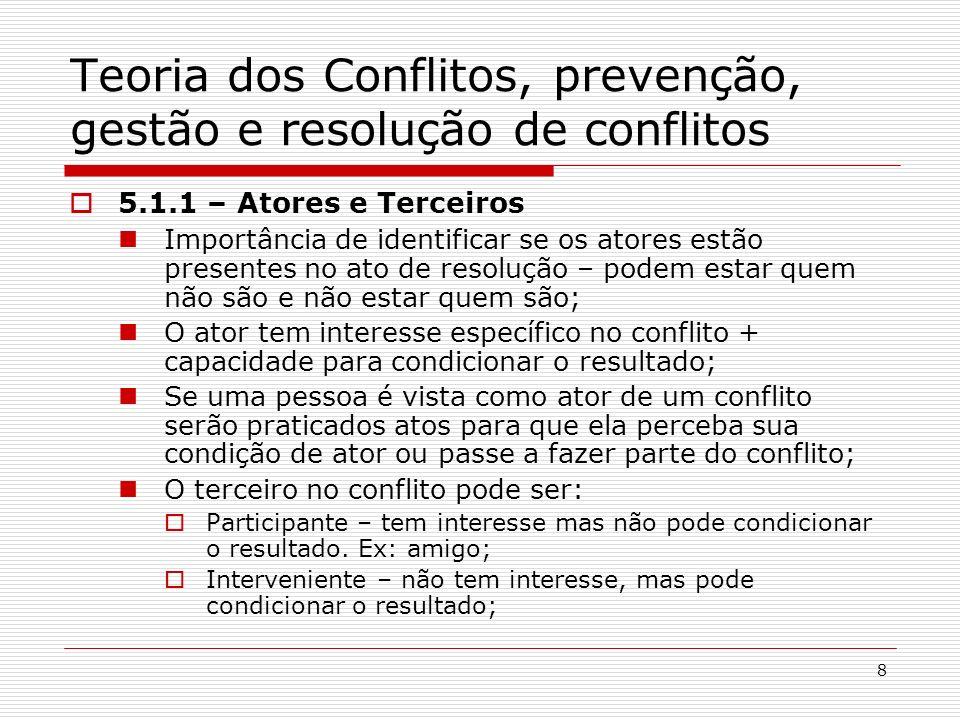 8 Teoria dos Conflitos, prevenção, gestão e resolução de conflitos 5.1.1 – Atores e Terceiros Importância de identificar se os atores estão presentes