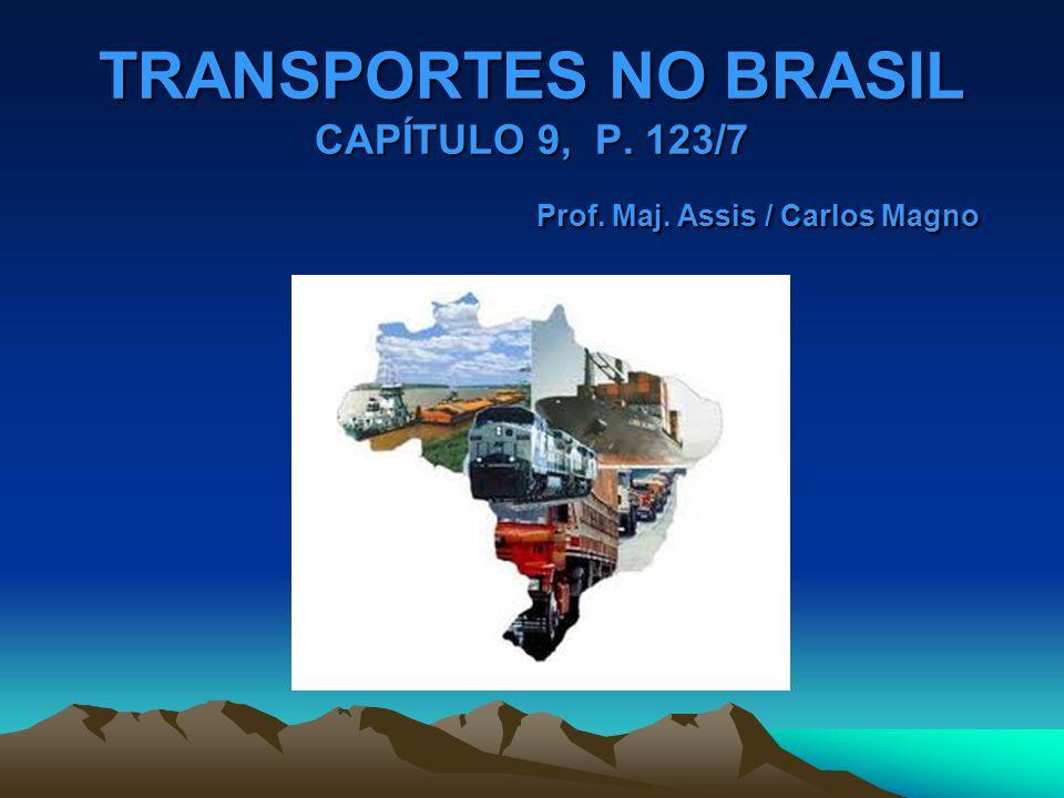 OS TRANSPORTES NO BRASIL O SETOR DE TRANSPORTES DESEMPENHOU PAPEL FUNDAMENTAL NO PROCESSO DE CRESCIMENTO ECONÔMICO E DE INTEGRAÇÃO DO NOSSO TERRITÓRIO.
