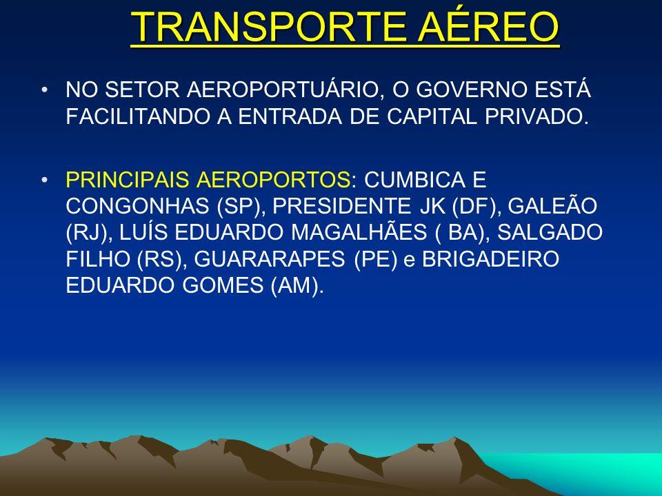 TRANSPORTE AÉREO NO SETOR AEROPORTUÁRIO, O GOVERNO ESTÁ FACILITANDO A ENTRADA DE CAPITAL PRIVADO. PRINCIPAIS AEROPORTOS: CUMBICA E CONGONHAS (SP), PRE