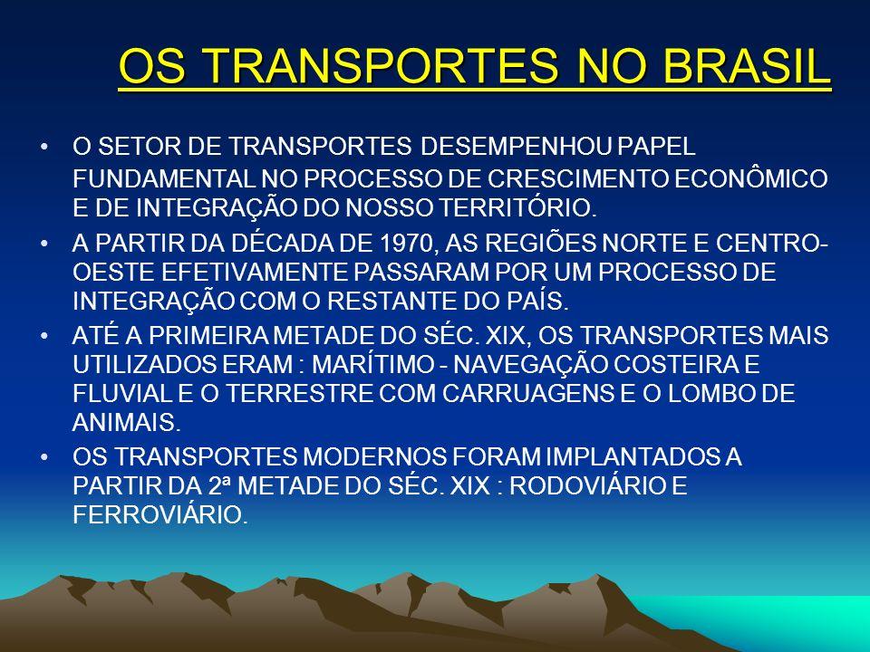 OS TRANSPORTES NO BRASIL O SETOR DE TRANSPORTES DESEMPENHOU PAPEL FUNDAMENTAL NO PROCESSO DE CRESCIMENTO ECONÔMICO E DE INTEGRAÇÃO DO NOSSO TERRITÓRIO