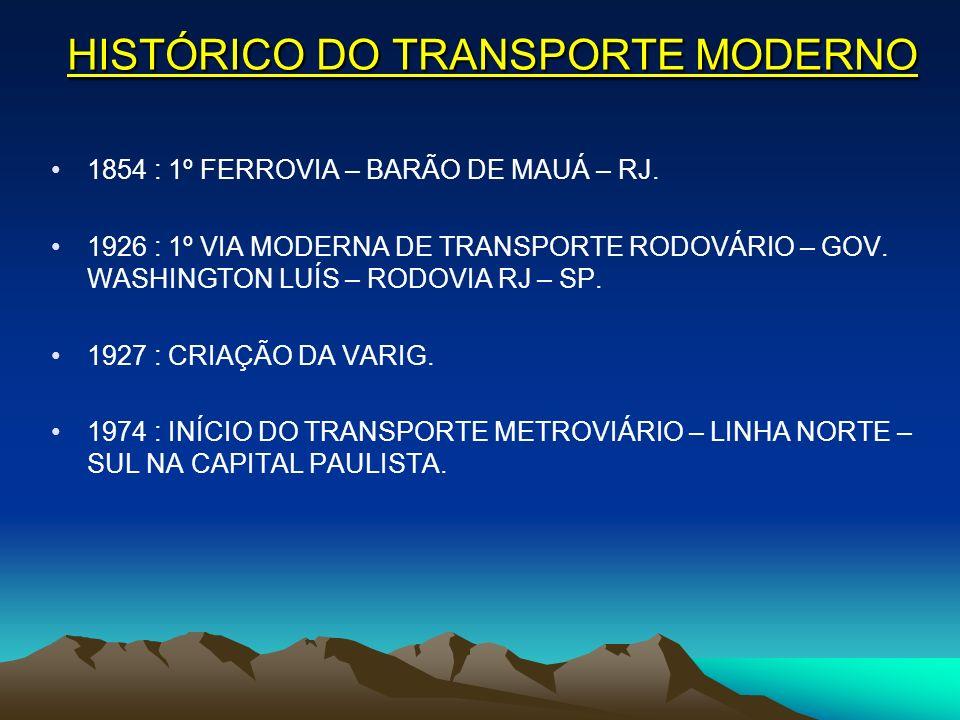 HISTÓRICO DO TRANSPORTE MODERNO 1854 : 1º FERROVIA – BARÃO DE MAUÁ – RJ. 1926 : 1º VIA MODERNA DE TRANSPORTE RODOVÁRIO – GOV. WASHINGTON LUÍS – RODOVI