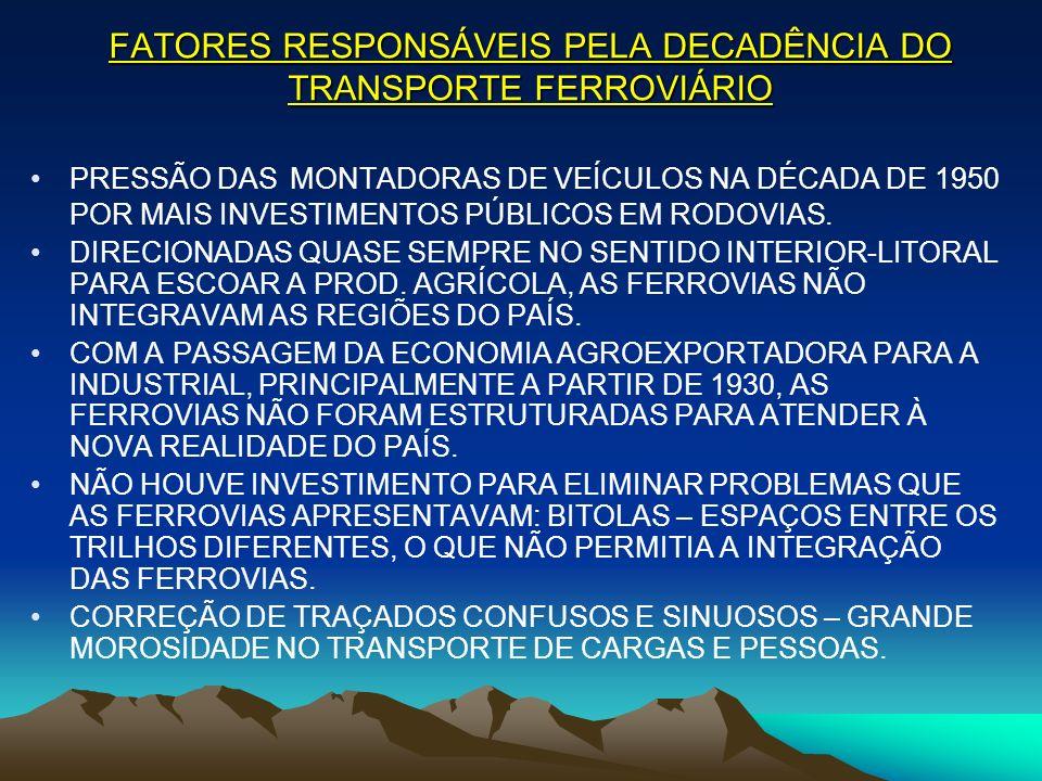 TRANSPORTE FERROVIÁRIO 1957: CRIAÇÃO DA REFFSA – REDE FERROVIÁRIA FEDERAL S.A – ENCAMPOU A MAIORIA DAS FERROVIAS DO PAÍS.