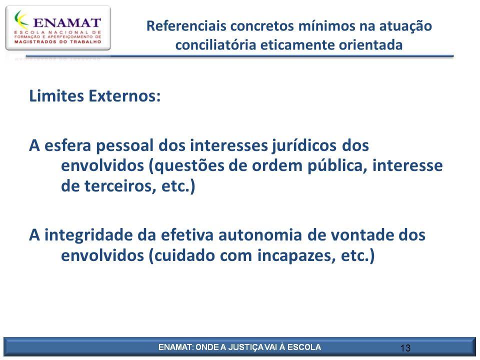 13 Referenciais concretos mínimos na atuação conciliatória eticamente orientada Limites Externos: A esfera pessoal dos interesses jurídicos dos envolv