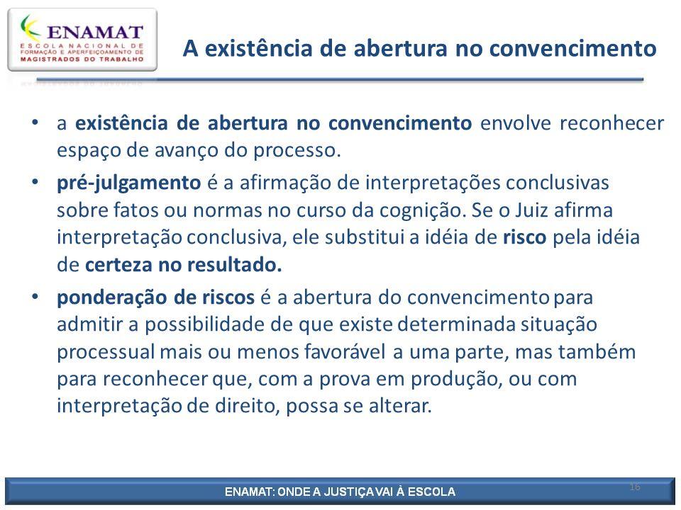 16 A existência de abertura no convencimento a existência de abertura no convencimento envolve reconhecer espaço de avanço do processo. pré-julgamento