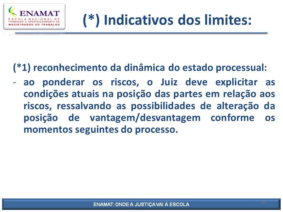 17 (*) Indicativos dos limites: (*1) reconhecimento da dinâmica do estado processual: -ao ponderar os riscos, o Juiz deve explicitar as condições atua