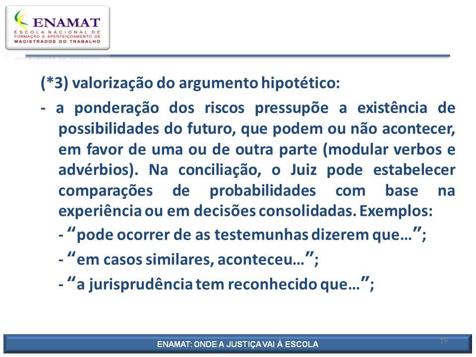 19 (*3) valorização do argumento hipotético: - a ponderação dos riscos pressupõe a existência de possibilidades do futuro, que podem ou não acontecer,