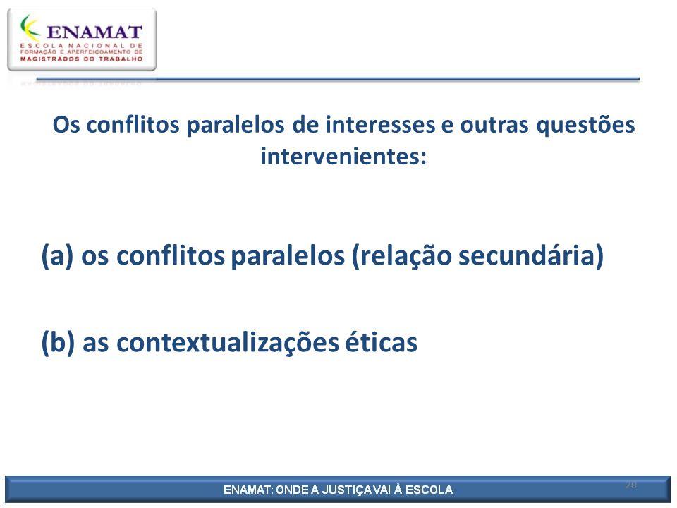 20 Os conflitos paralelos de interesses e outras questões intervenientes: (a) os conflitos paralelos (relação secundária) (b) as contextualizações éti