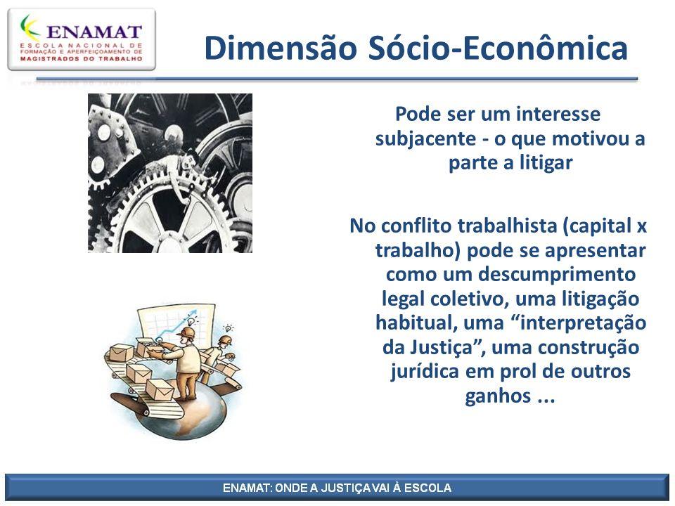 Dimensão Sócio-Econômica Pode ser um interesse subjacente - o que motivou a parte a litigar No conflito trabalhista (capital x trabalho) pode se apres