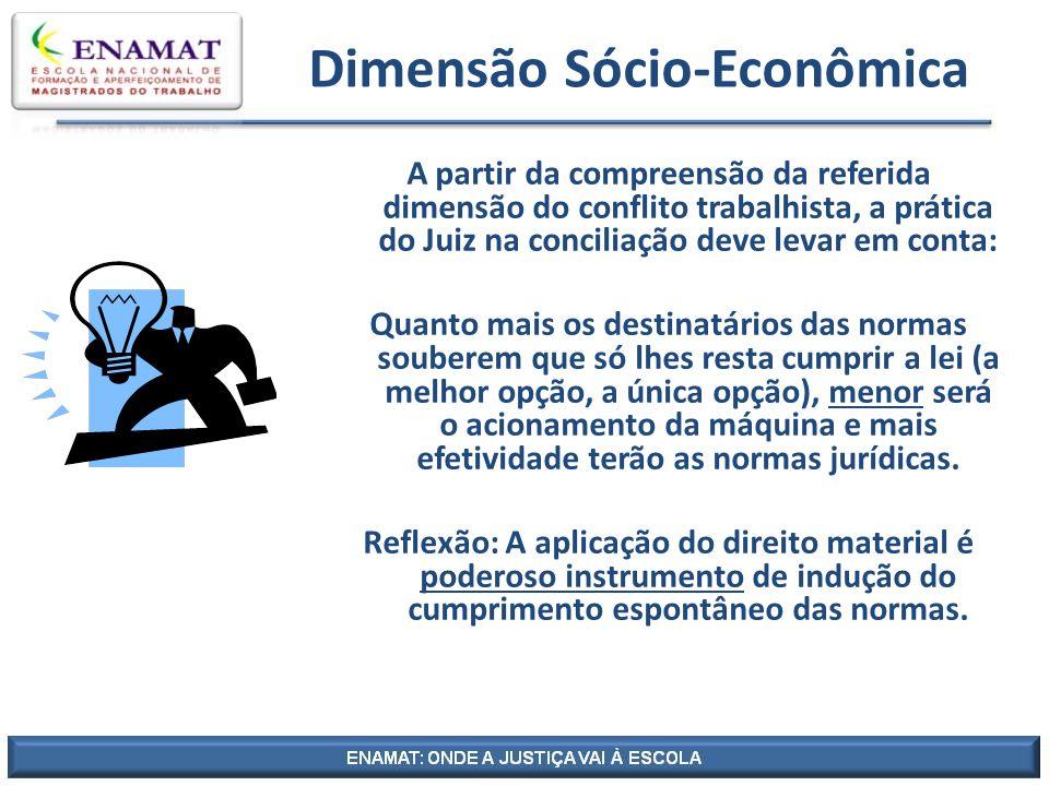 Dimensão Sócio-Econômica A partir da compreensão da referida dimensão do conflito trabalhista, a prática do Juiz na conciliação deve levar em conta: Q