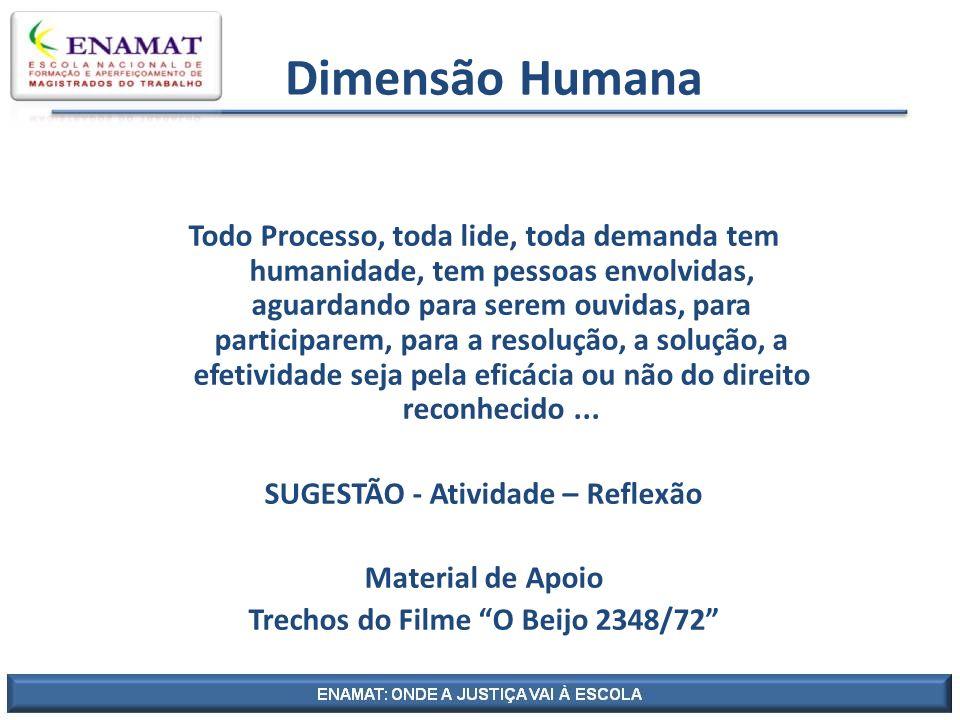 Dimensão Humana Todo Processo, toda lide, toda demanda tem humanidade, tem pessoas envolvidas, aguardando para serem ouvidas, para participarem, para