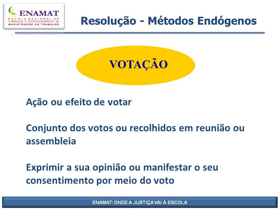 Resolução - Métodos Endógenos VOTAÇÃO Ação ou efeito de votar Conjunto dos votos ou recolhidos em reunião ou assembleia Exprimir a sua opinião ou mani