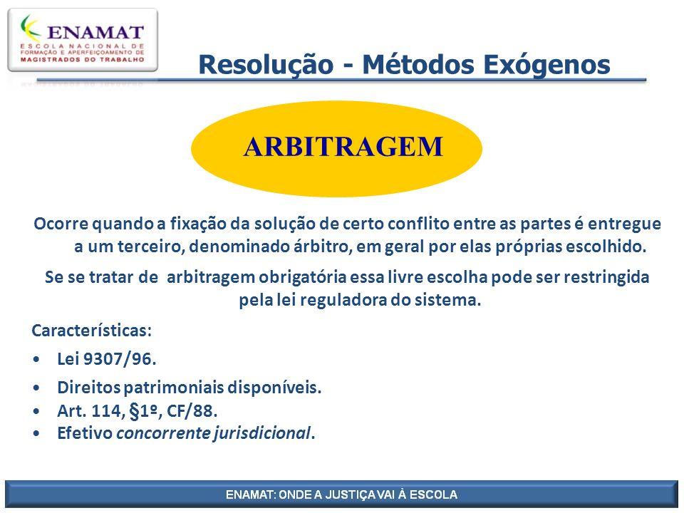 Resolução - Métodos Exógenos ARBITRAGEM Ocorre quando a fixação da solução de certo conflito entre as partes é entregue a um terceiro, denominado árbi