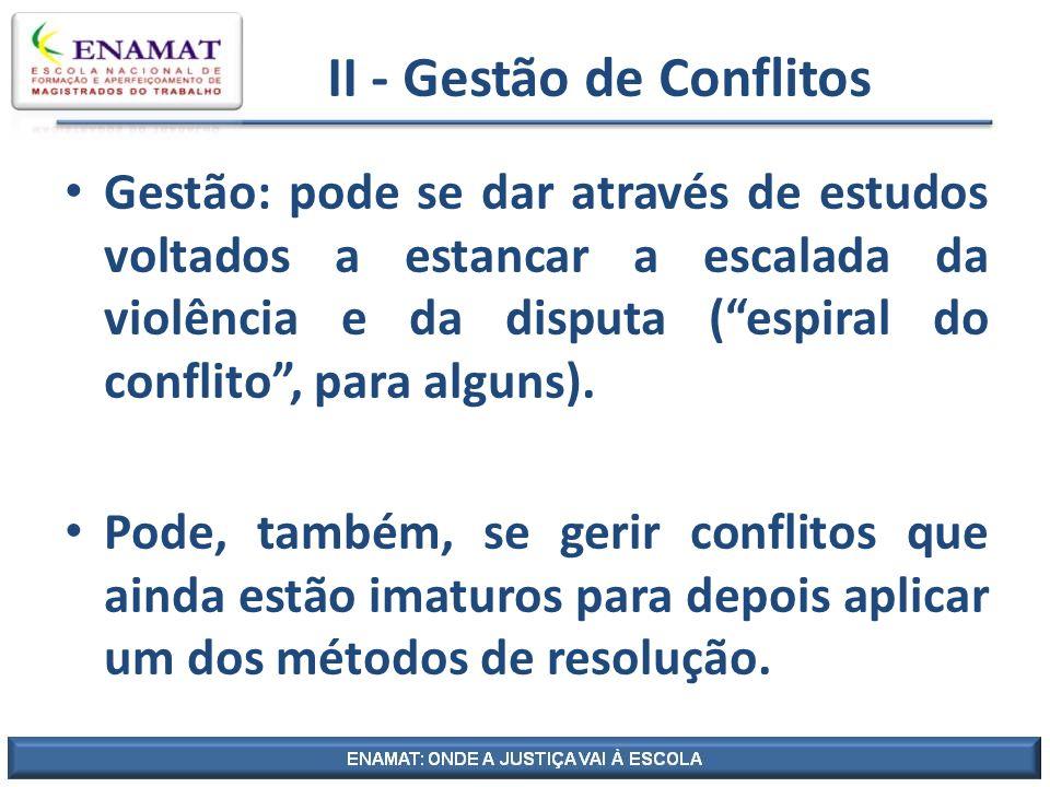 II - Gestão de Conflitos Gestão: pode se dar através de estudos voltados a estancar a escalada da violência e da disputa (espiral do conflito, para al
