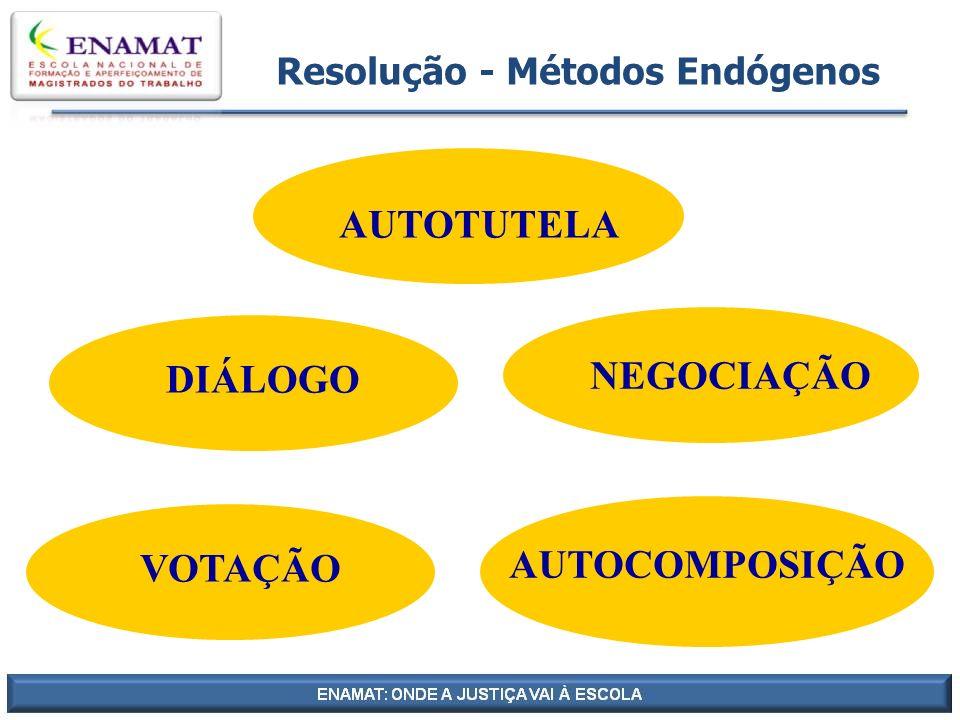 Resolução - Métodos Endógenos DIÁLOGO AUTOCOMPOSIÇÃO NEGOCIAÇÃO VOTAÇÃO AUTOTUTELA