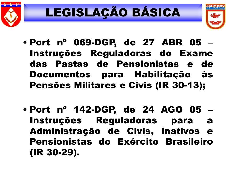 LEGISLAÇÃO BÁSICA Port nº 069-DGP, de 27 ABR 05 – Instruções Reguladoras do Exame das Pastas de Pensionistas e de Documentos para Habilitação às Pensõ