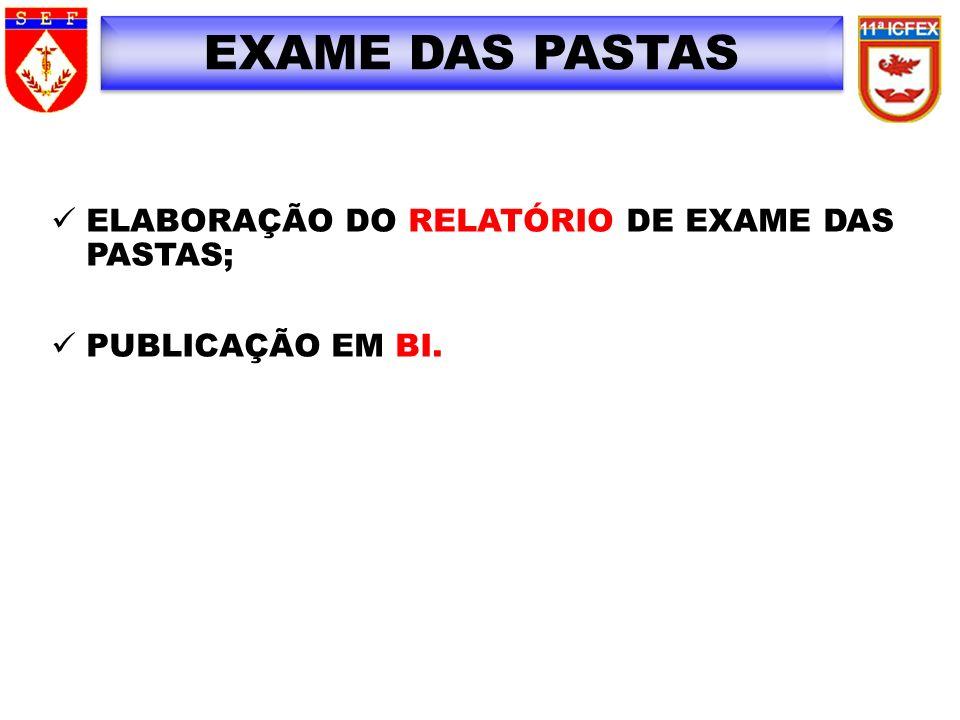 EXAME DAS PASTAS ELABORAÇÃO DO RELATÓRIO DE EXAME DAS PASTAS; PUBLICAÇÃO EM BI.
