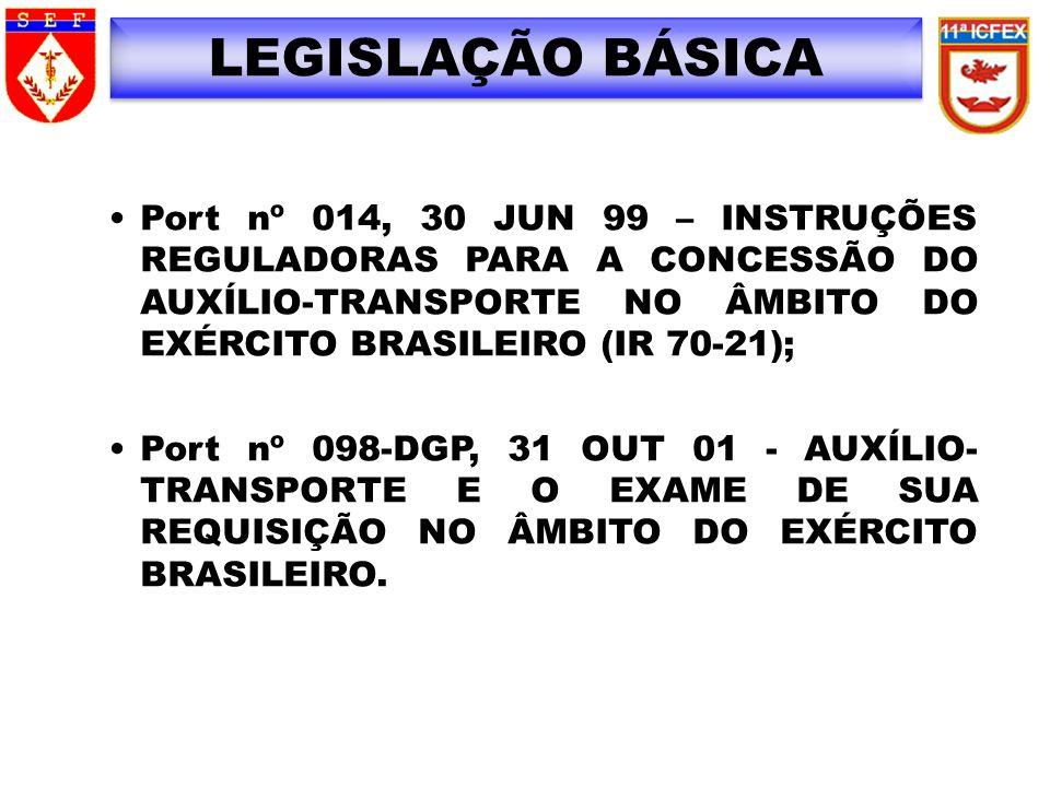 LEGISLAÇÃO BÁSICA Port nº 014, 30 JUN 99 – INSTRUÇÕES REGULADORAS PARA A CONCESSÃO DO AUXÍLIO-TRANSPORTE NO ÂMBITO DO EXÉRCITO BRASILEIRO (IR 70-21);