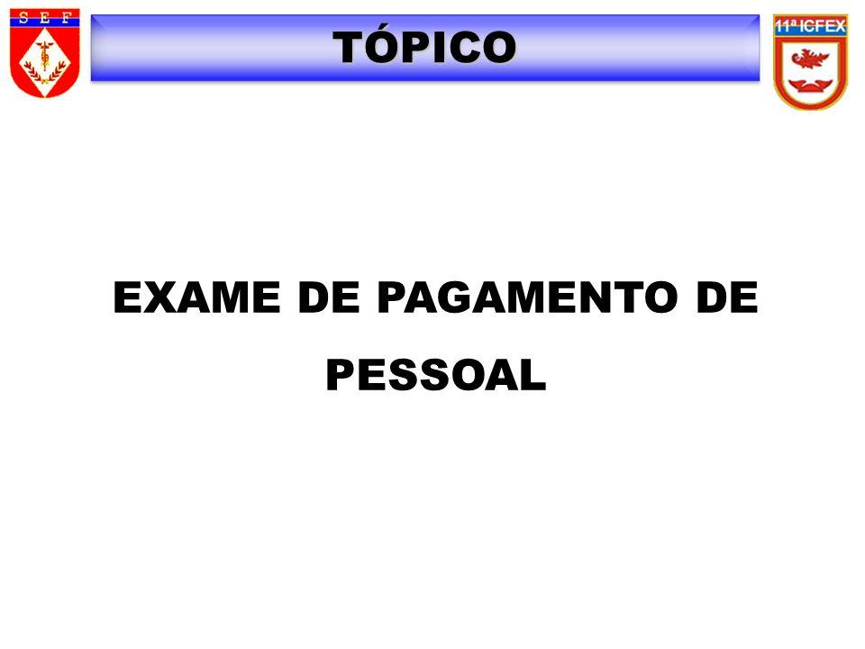 TÓPICO EXAME DE PAGAMENTO DE PESSOAL