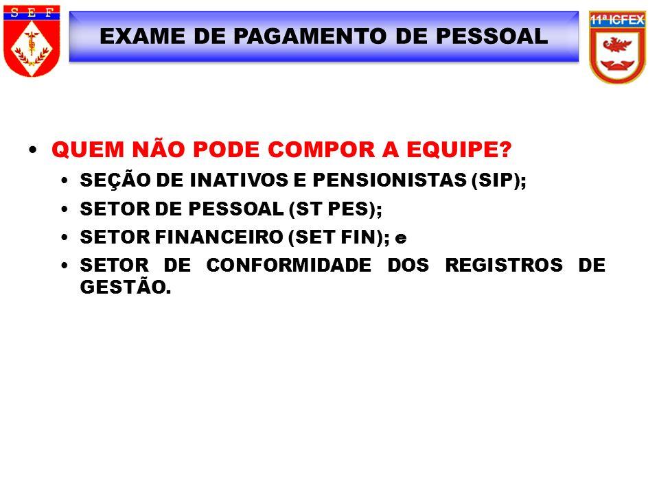 EXAME DE PAGAMENTO DE PESSOAL QUEM NÃO PODE COMPOR A EQUIPE? SEÇÃO DE INATIVOS E PENSIONISTAS (SIP); SETOR DE PESSOAL (ST PES); SETOR FINANCEIRO (SET