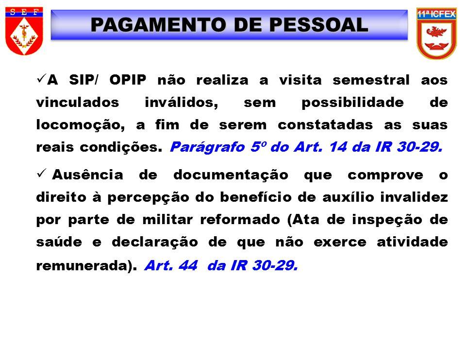 A SIP/ OPIP não realiza a visita semestral aos vinculados inválidos, sem possibilidade de locomoção, a fim de serem constatadas as suas reais condiçõe