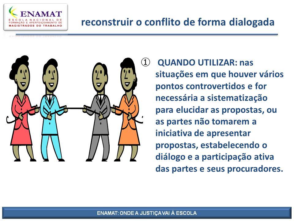 reconstruir o conflito de forma dialogada QUANDO UTILIZAR: nas situações em que houver vários pontos controvertidos e for necessária a sistematização
