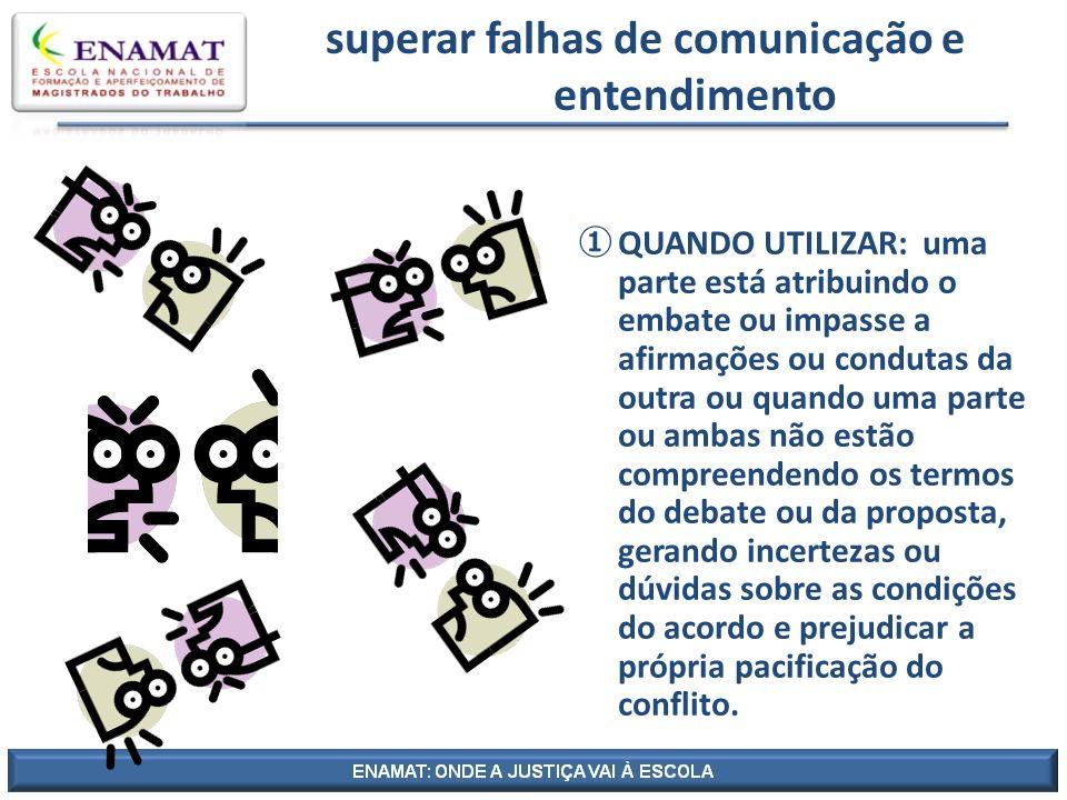 superar falhas de comunicação e entendimento QUANDO UTILIZAR: uma parte está atribuindo o embate ou impasse a afirmações ou condutas da outra ou quand