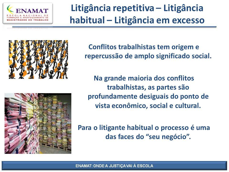 Litigância repetitiva – Litigância habitual – Litigância em excesso Conflitos trabalhistas tem origem e repercussão de amplo significado social. Na gr