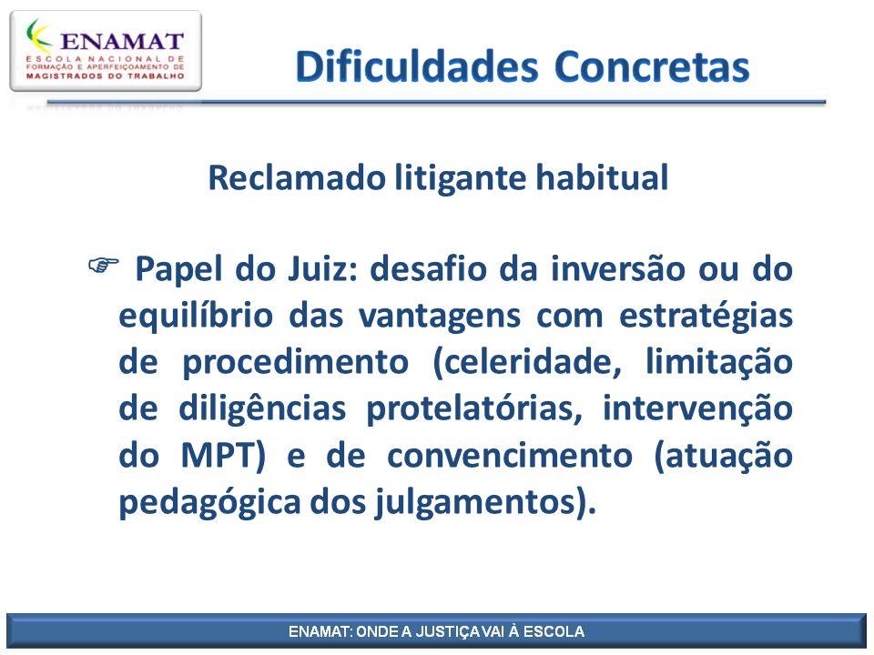 Reclamado litigante habitual Papel do Juiz: desafio da inversão ou do equilíbrio das vantagens com estratégias de procedimento (celeridade, limitação
