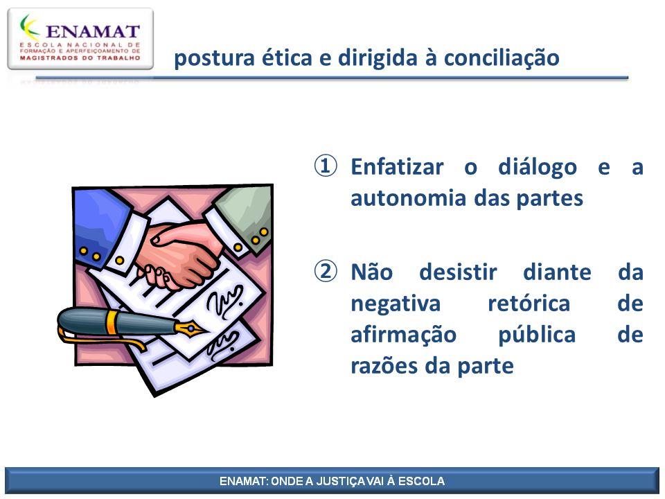 postura ética e dirigida à conciliação Enfatizar o diálogo e a autonomia das partes Não desistir diante da negativa retórica de afirmação pública de r