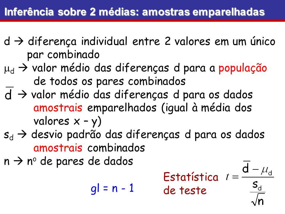 Inferência sobre 2 médias: amostras emparelhadas d diferença individual entre 2 valores em um único par combinado d valor médio das diferenças d para