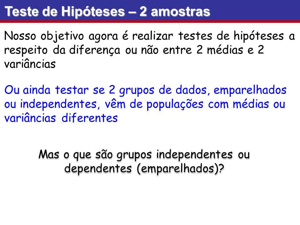 Duas amostras são independentes se os valores amostrais de uma população não estão relacionados ou de alguma forma emparelhados ou combinados com os valores amostrais selecionados de outra população.