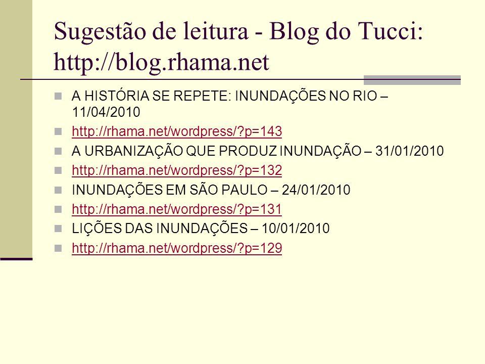 Sugestão de leitura - Blog do Tucci: http://blog.rhama.net A HISTÓRIA SE REPETE: INUNDAÇÕES NO RIO – 11/04/2010 http://rhama.net/wordpress/?p=143 A UR