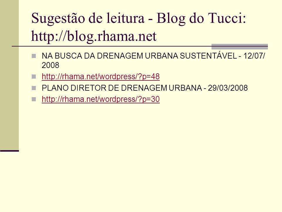Sugestão de leitura - Blog do Tucci: http://blog.rhama.net NA BUSCA DA DRENAGEM URBANA SUSTENTÁVEL - 12/07/ 2008 http://rhama.net/wordpress/?p=48 PLAN