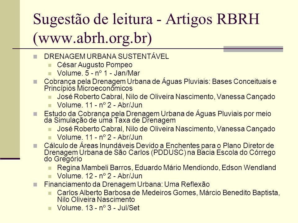 Sugestão de leitura - Artigos RBRH (www.abrh.org.br) DRENAGEM URBANA SUSTENTÁVEL César Augusto Pompeo Volume. 5 - nº 1 - Jan/Mar Cobrança pela Drenage
