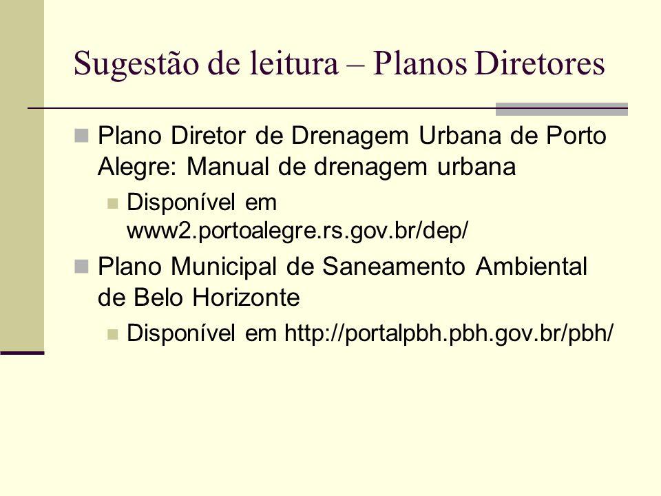 Sugestão de leitura – Planos Diretores Plano Diretor de Drenagem Urbana de Porto Alegre: Manual de drenagem urbana Disponível em www2.portoalegre.rs.g