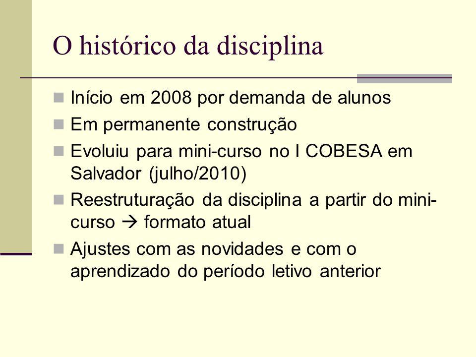 O histórico da disciplina Início em 2008 por demanda de alunos Em permanente construção Evoluiu para mini-curso no I COBESA em Salvador (julho/2010) R