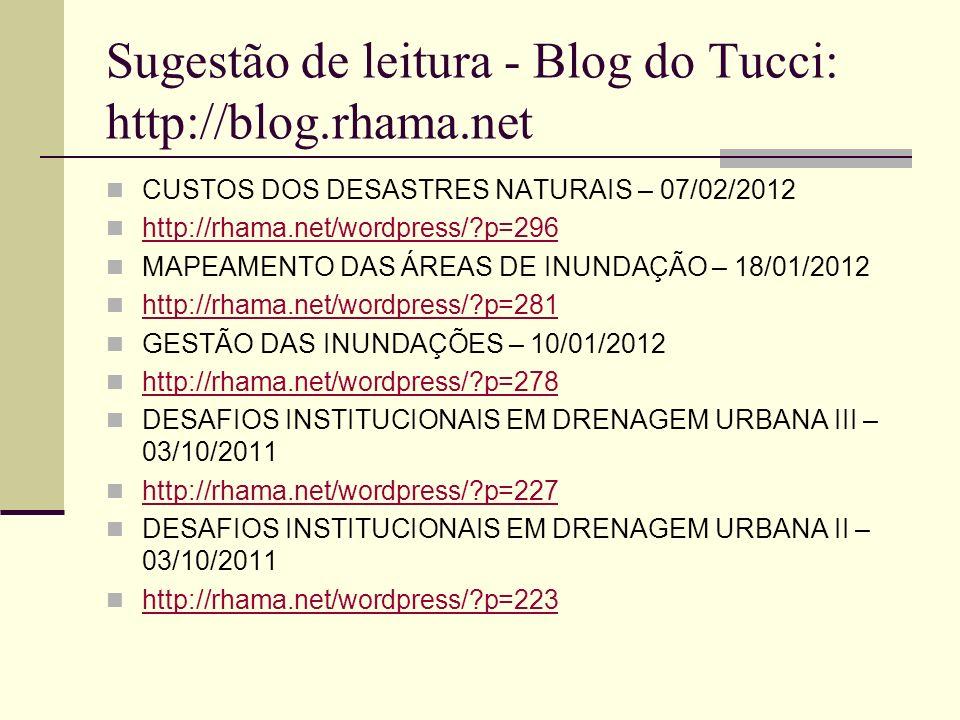 Sugestão de leitura - Blog do Tucci: http://blog.rhama.net CUSTOS DOS DESASTRES NATURAIS – 07/02/2012 http://rhama.net/wordpress/?p=296 MAPEAMENTO DAS