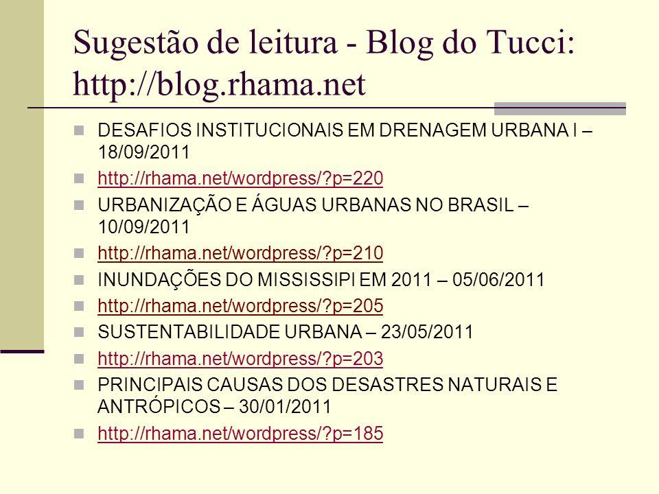 Sugestão de leitura - Blog do Tucci: http://blog.rhama.net DESAFIOS INSTITUCIONAIS EM DRENAGEM URBANA I – 18/09/2011 http://rhama.net/wordpress/?p=220