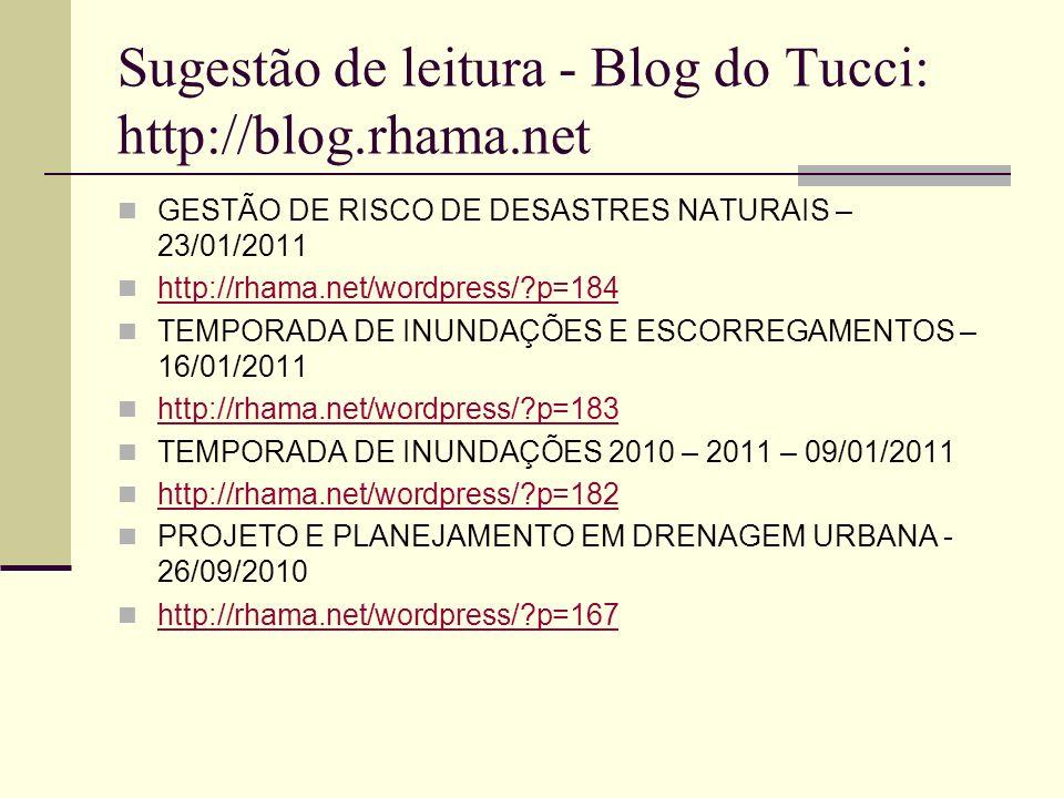 Sugestão de leitura - Blog do Tucci: http://blog.rhama.net GESTÃO DE RISCO DE DESASTRES NATURAIS – 23/01/2011 http://rhama.net/wordpress/?p=184 TEMPOR